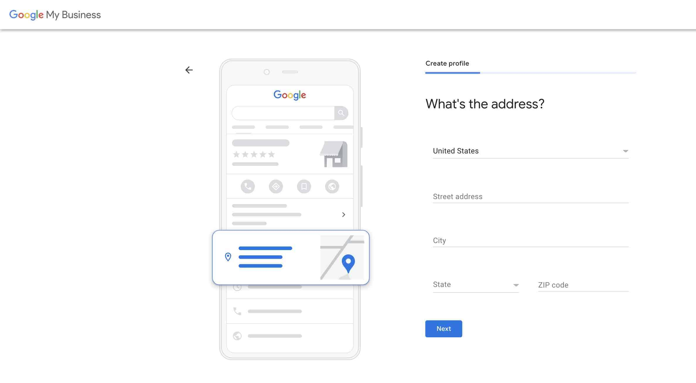 Set up google my business account - 3 Add business address