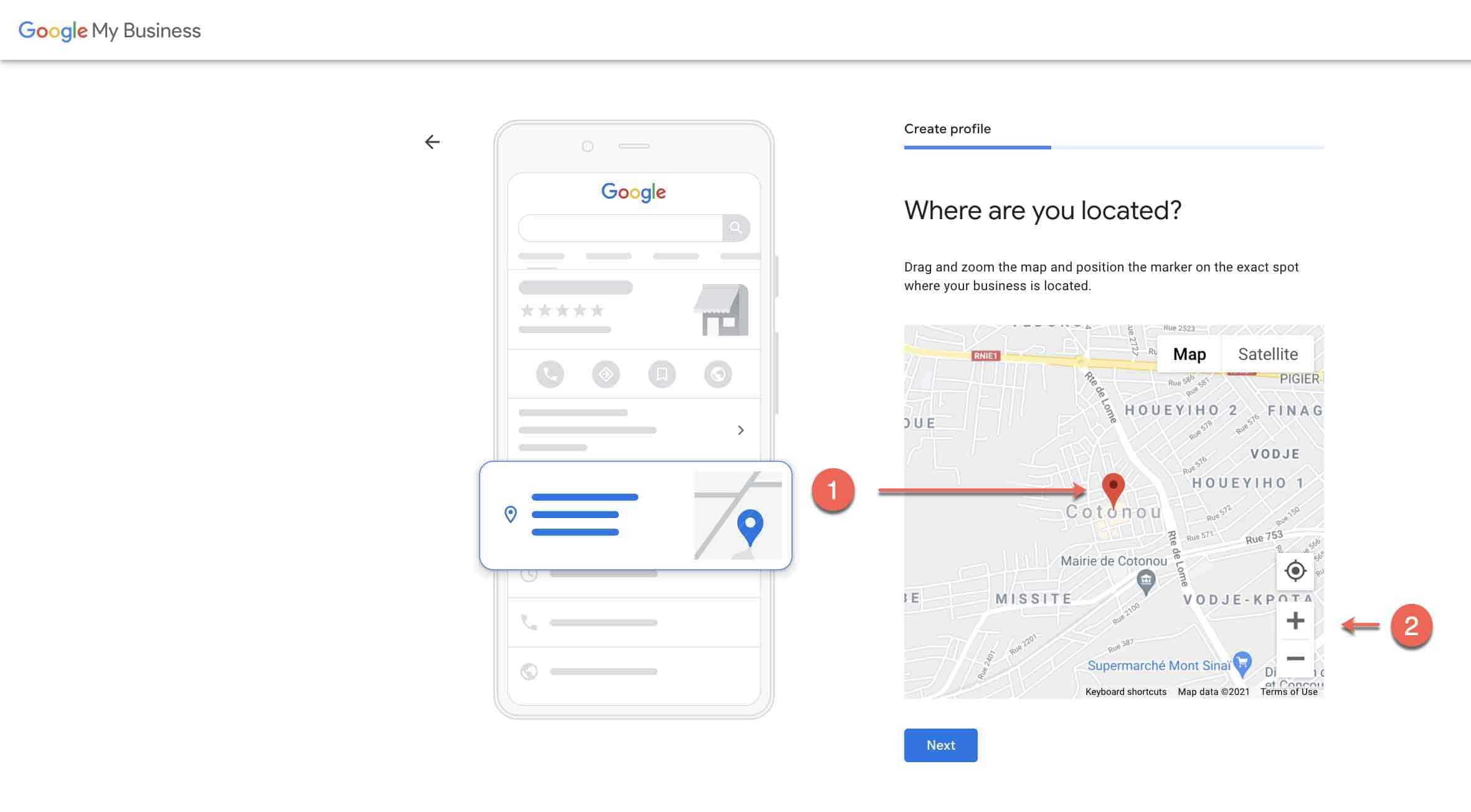 Set up google my business account - 3 pin location