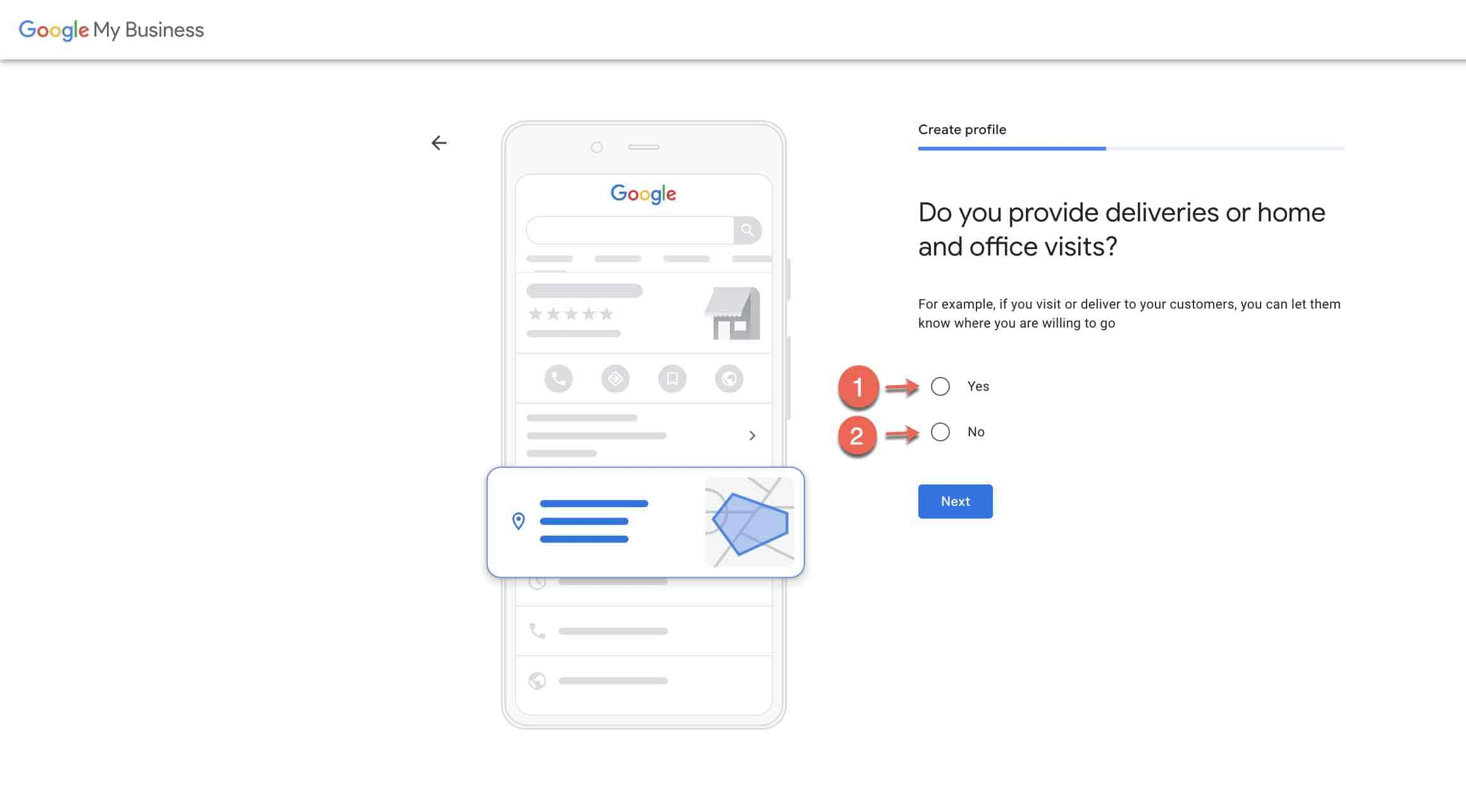 Set up google my business account - 3 service area