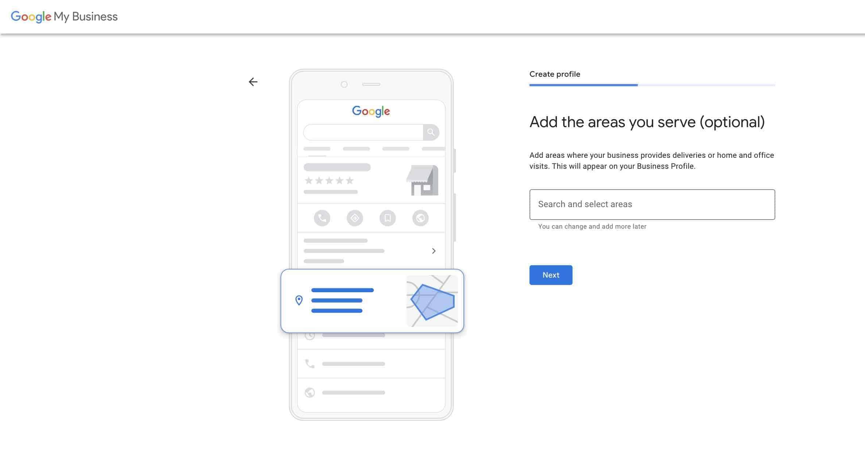 Set up google my business account - 3 Service area list