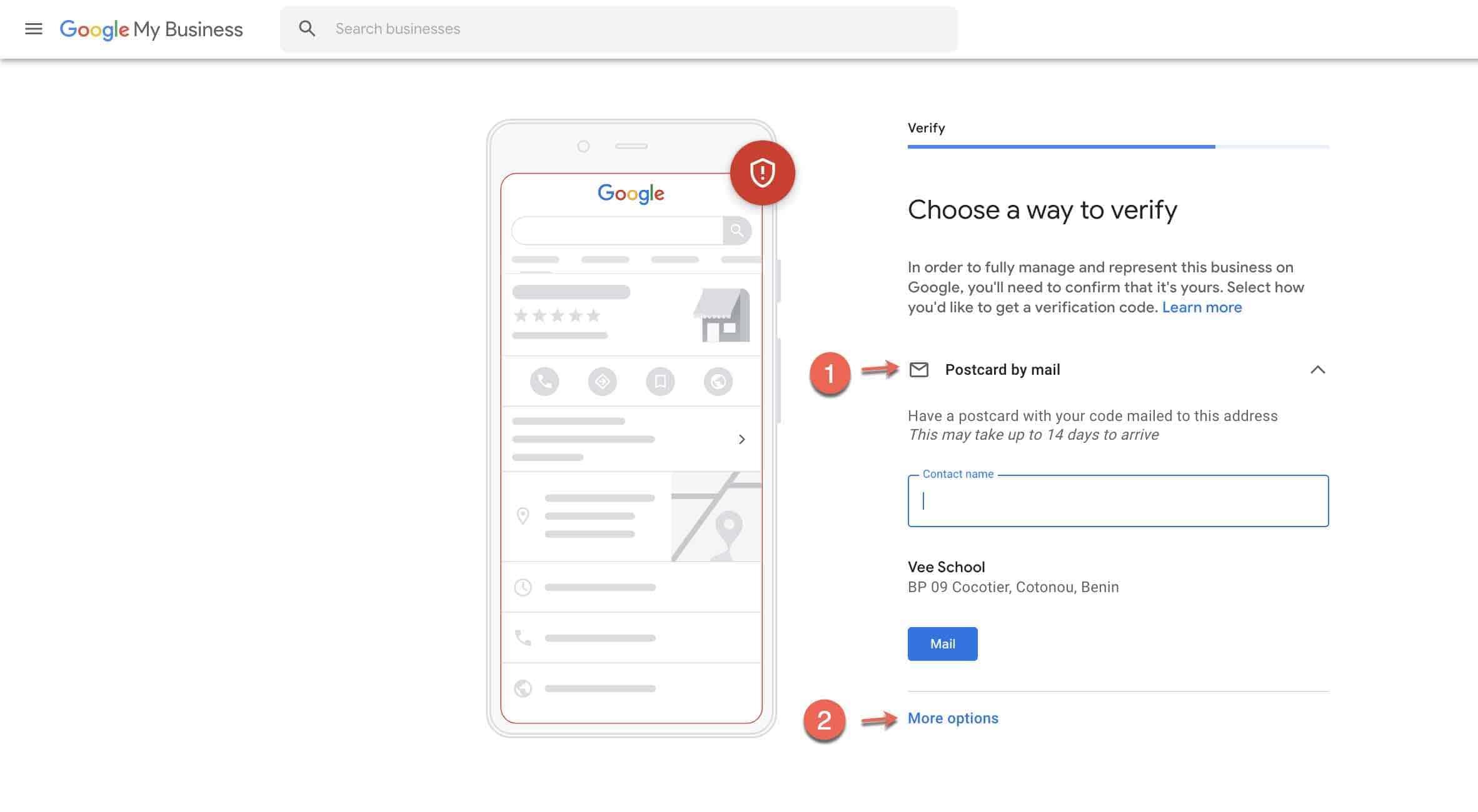 Set up google my business account - 3 verify by postcard