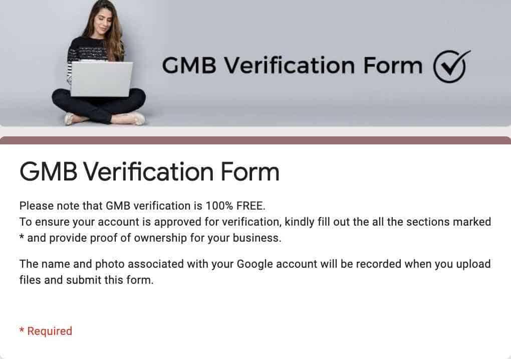 Fill the GMB verification form