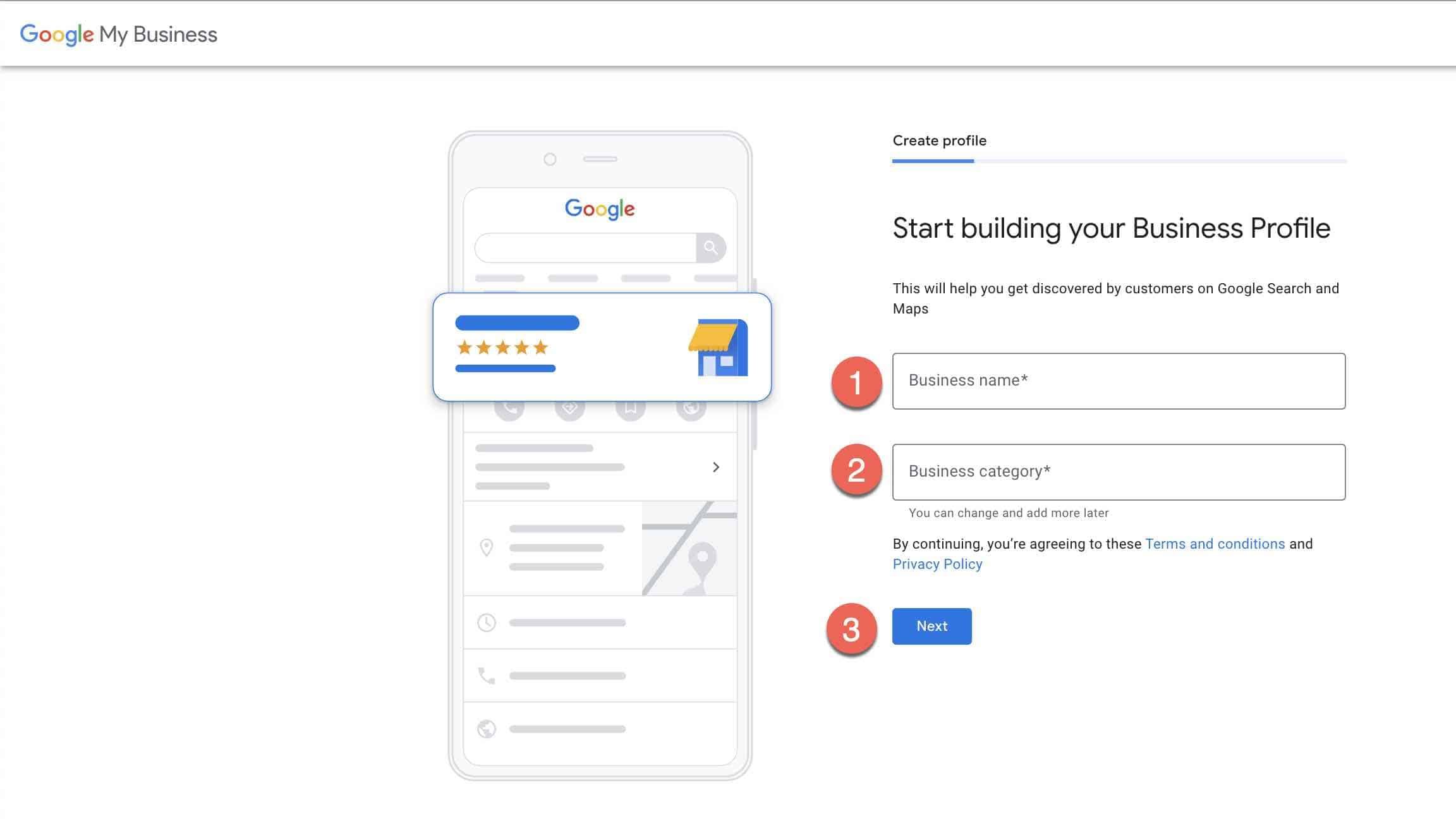 Set up google my business account -2