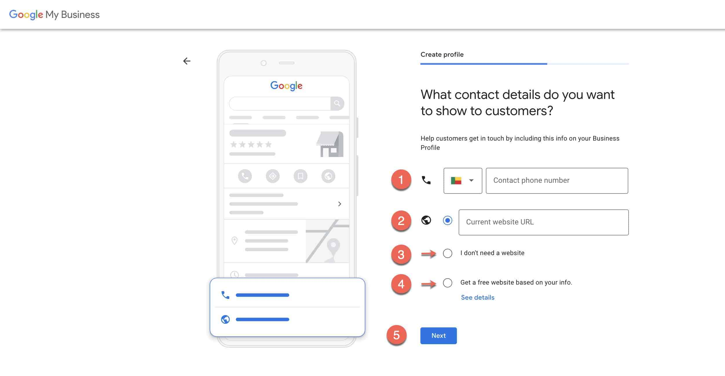 Set up google my business account -3-Add contact details