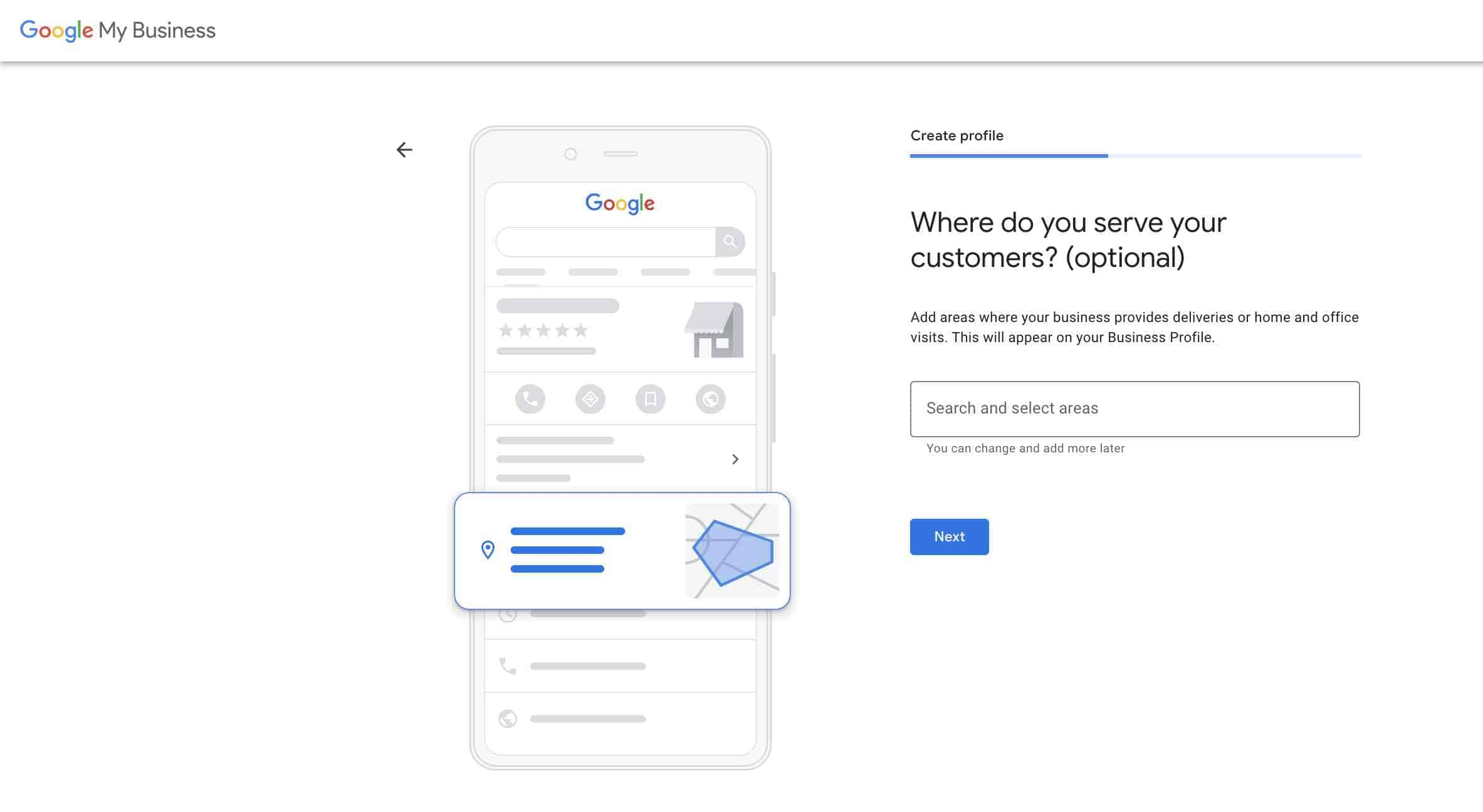 Set up google my business account -3-Add service area